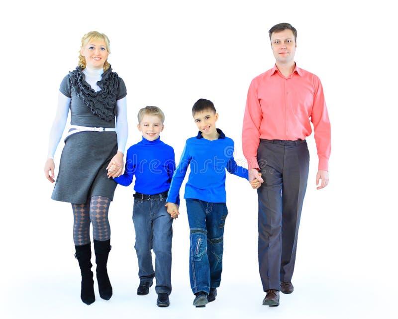 Família isolada no branco imagem de stock royalty free
