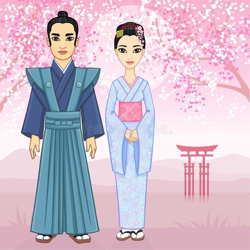 Família japonesa da animação na roupa antiga ilustração do vetor
