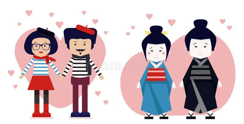 Família japonesa no quimono, no homem francês e na mulher no traje nacional ilustração stock