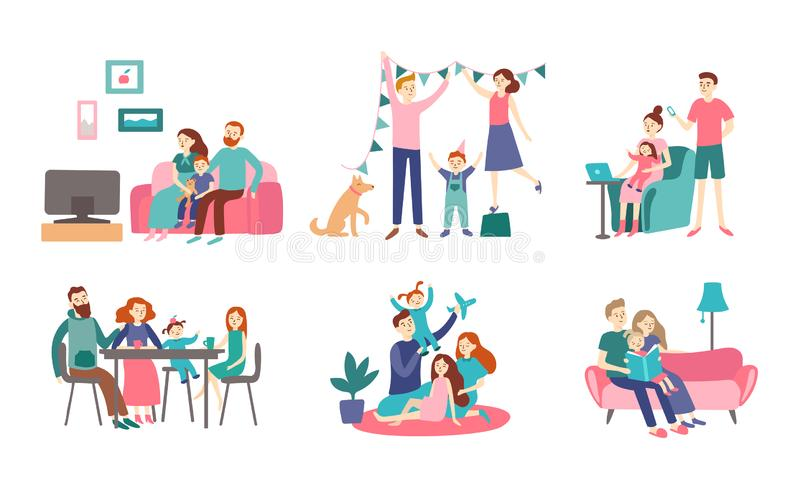 Família junto em casa Os pares novos passam o tempo com crianças, leem o livro e casa da decoração Vetor do Homeliness liso ilustração royalty free