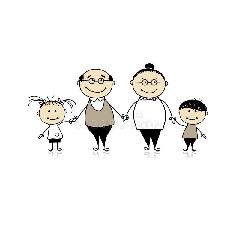Família junto - grandparents e netos ilustração royalty free