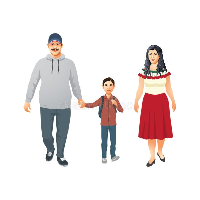 A família latino feliz com criança vai à escola primária ilustração do vetor