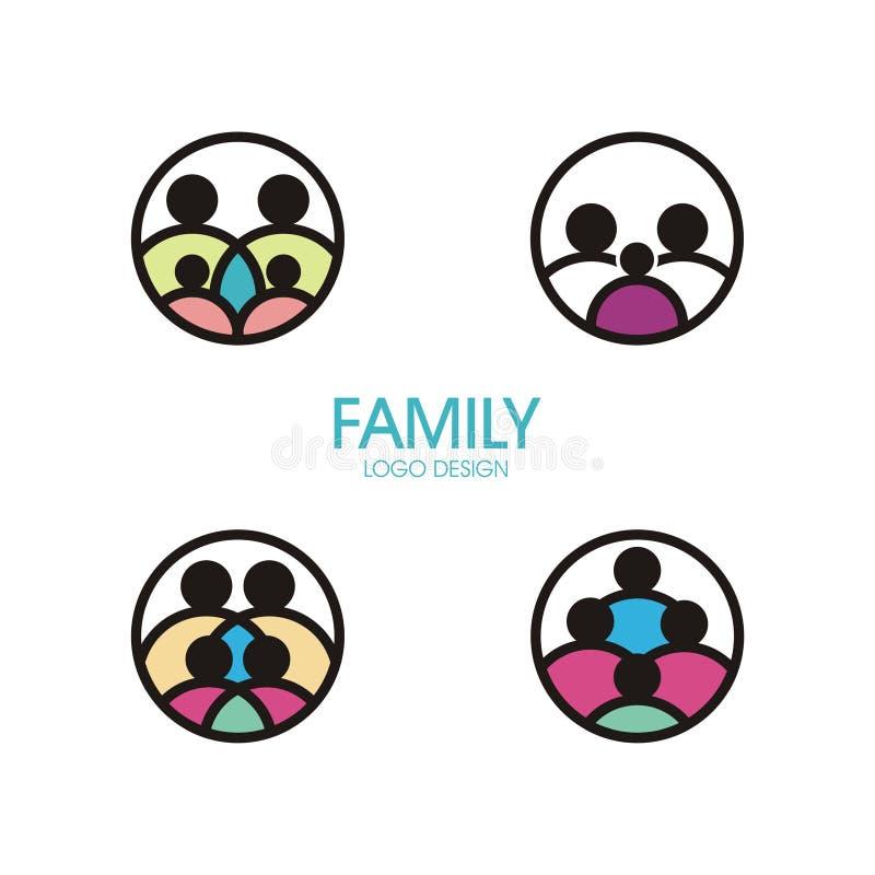 Família Logo Set com muitos variação ilustração stock
