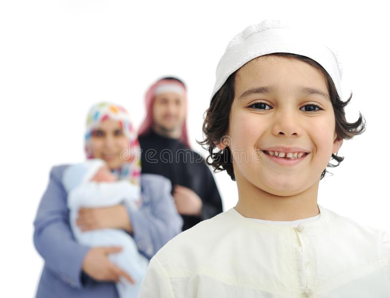 Família muçulmana feliz imagens de stock royalty free