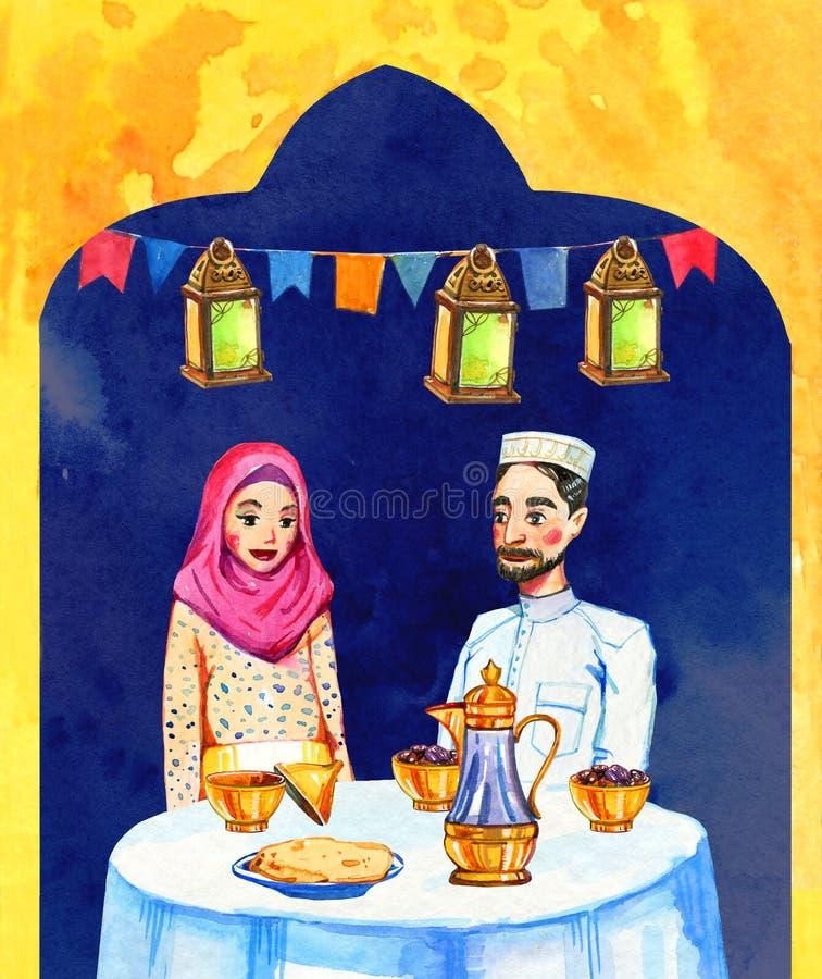 Família muçulmana feliz com celebração do partido de Ramadan Kareem Iftar das decorações, ilustração tirada mão da aquarela ilustração stock