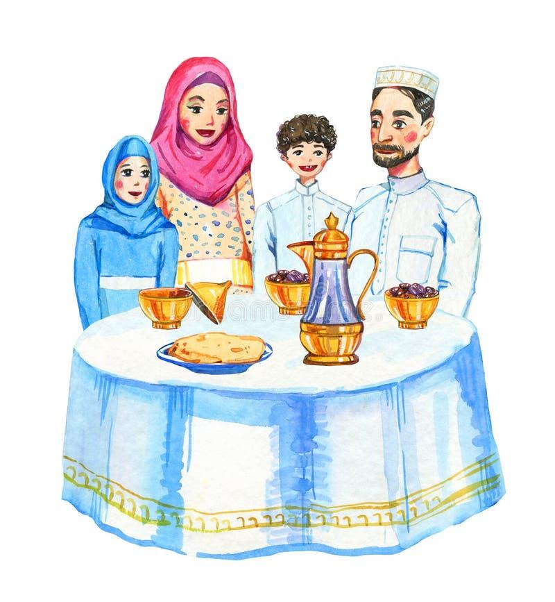 Família muçulmana feliz com celebração do partido de Ramadan Kareem Iftar de duas crianças, ilustração tirada mão da aquarela ilustração royalty free