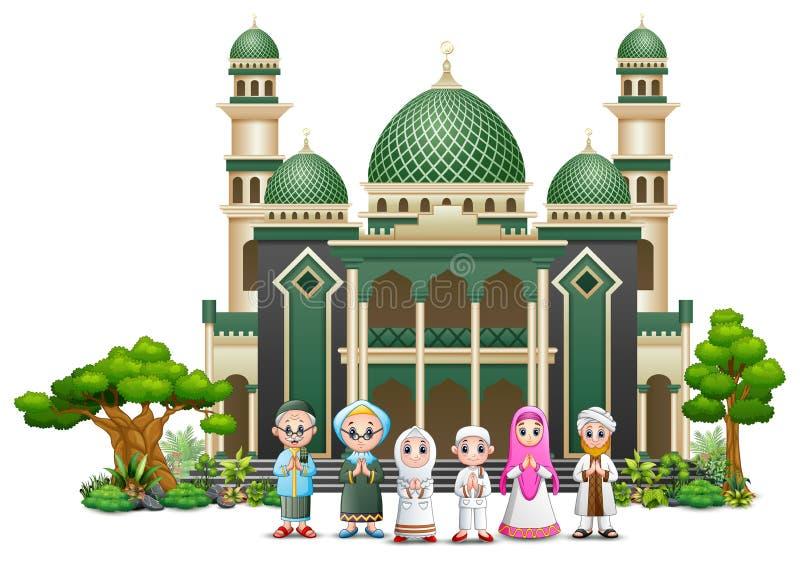 Família muçulmana feliz na frente de uma mesquita ilustração do vetor