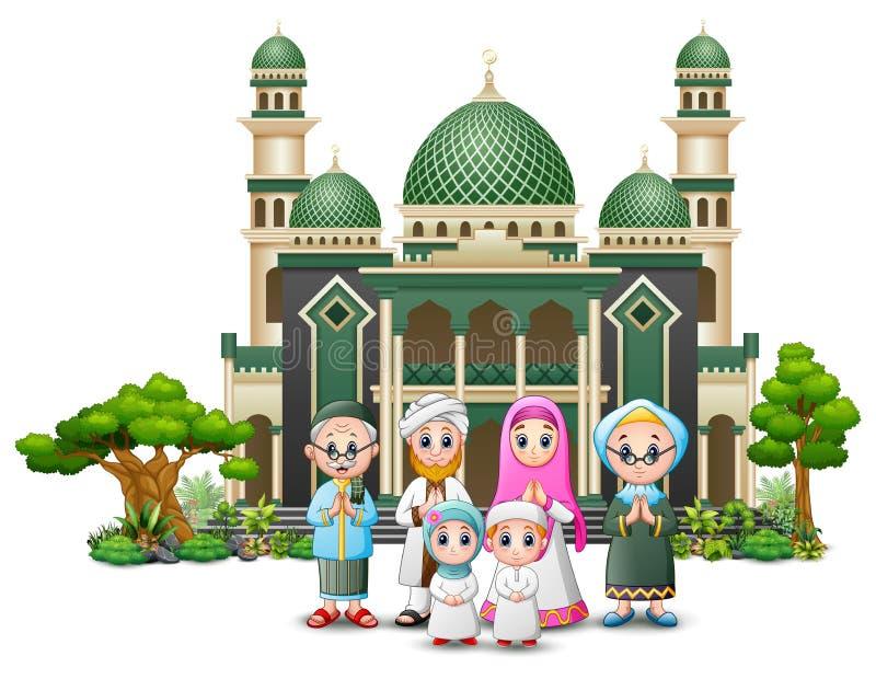 Família muçulmana feliz na frente de uma mesquita ilustração royalty free