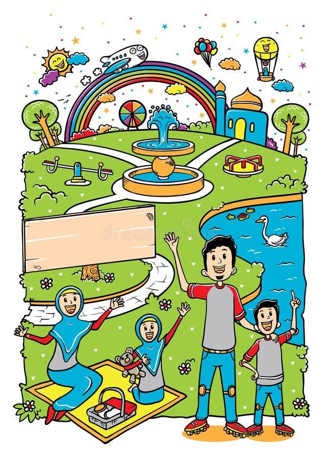 Família muçulmana na ilustração do parque ilustração royalty free