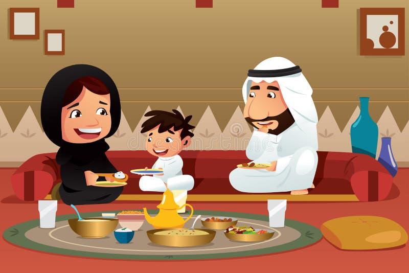 Família muçulmana que come em casa ilustração stock