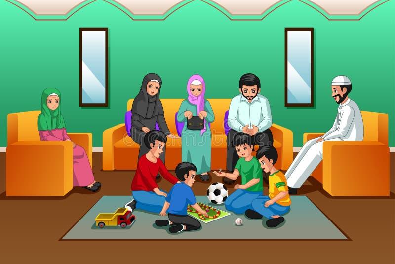 Família muçulmana que joga na sala de visitas ilustração do vetor