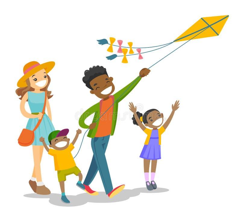 Família multi-étnico nova que joga com um papagaio ilustração stock