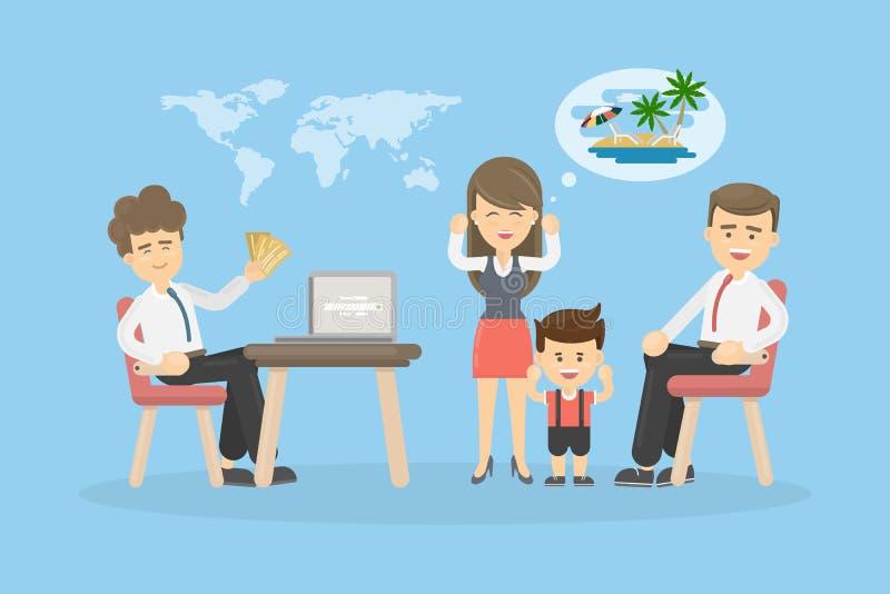 Família na agência de viagens ilustração stock