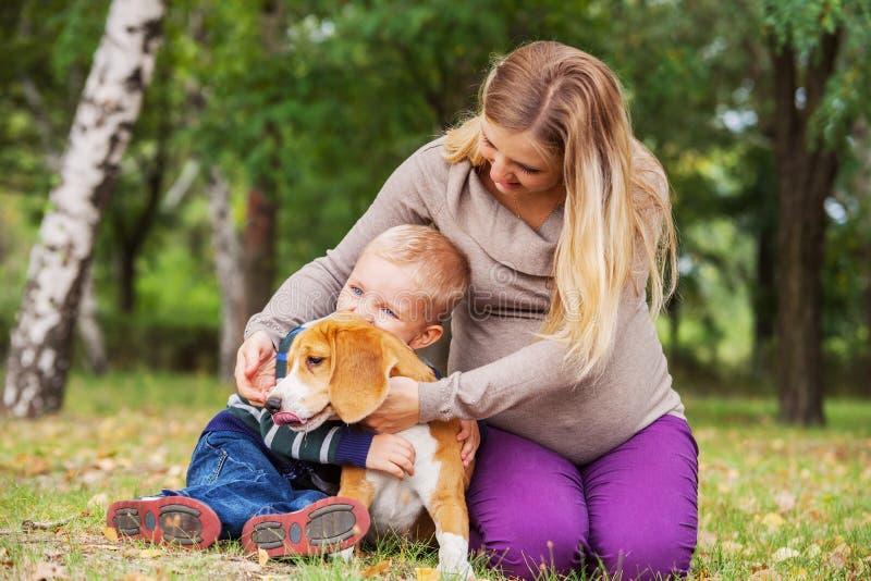 Família na caminhada com animal de estimação favorito imagem de stock