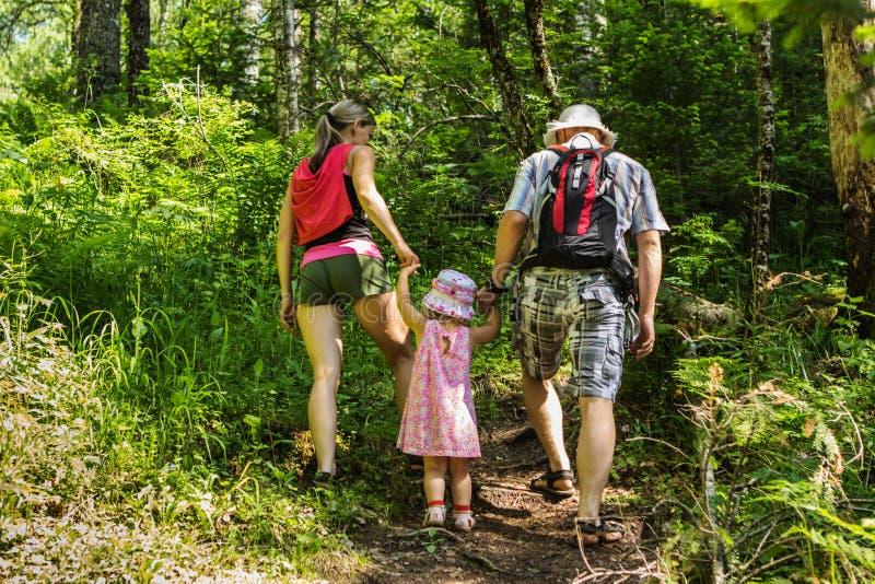 Família na caminhada nas montanhas no dia de verão fotografia de stock royalty free