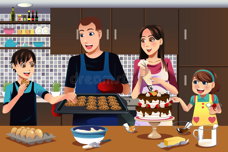 Família na cozinha ilustração do vetor