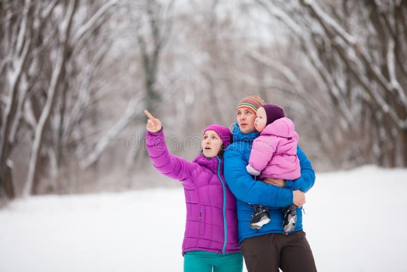 Família na floresta do inverno fotos de stock