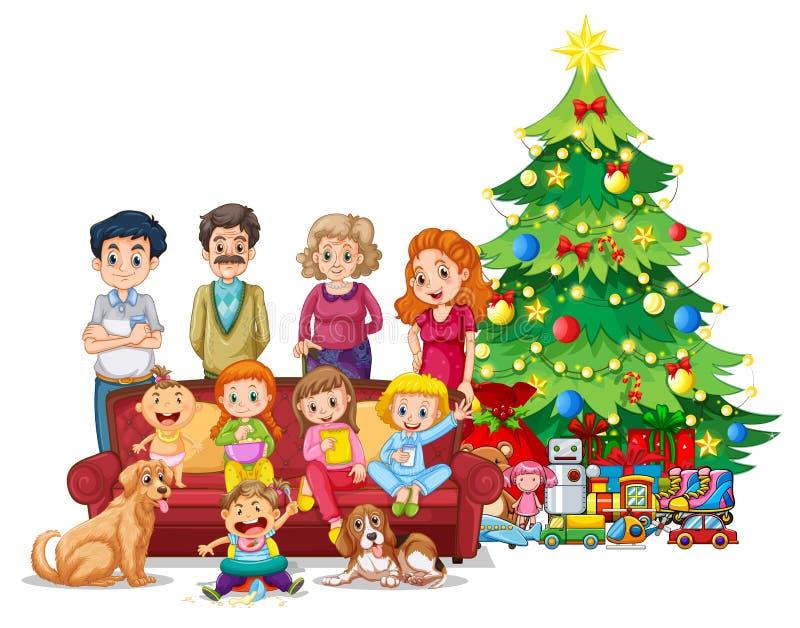 Família na frente da árvore de Natal ilustração do vetor