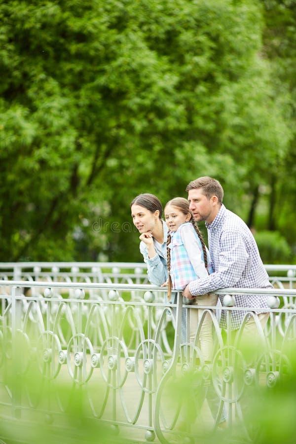 Família na ponte imagens de stock royalty free