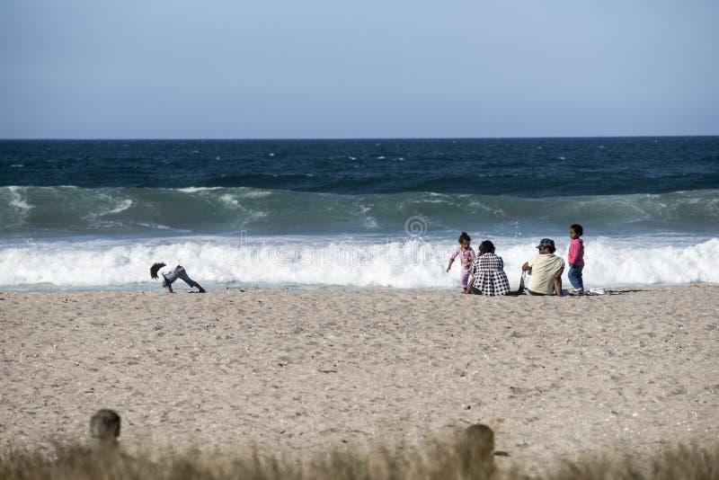 Família na praia. imagens de stock