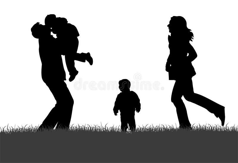 Família na silhueta da grama ilustração royalty free