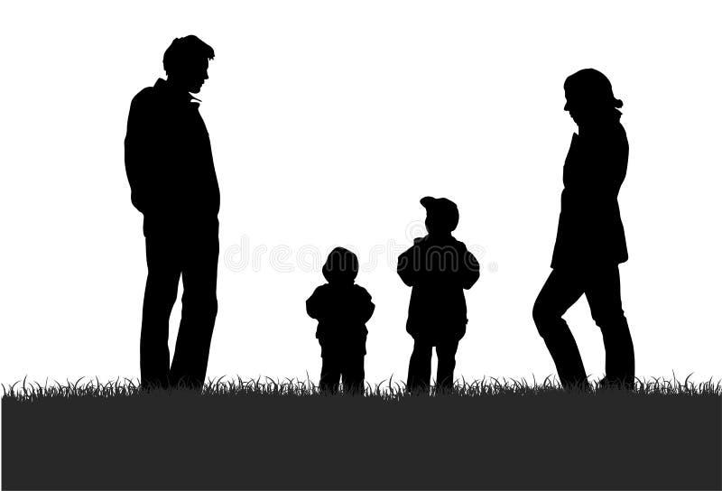 Família na silhueta do prado ilustração royalty free