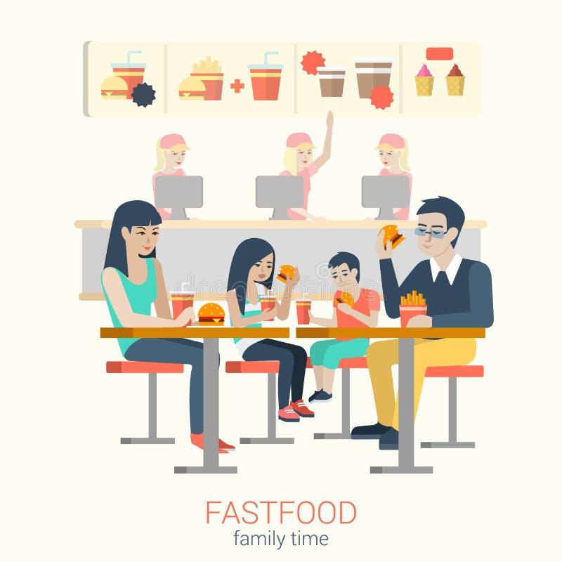 Família no café do fastfood que come fritadas do hamburguer: alimento liso do vetor ilustração royalty free