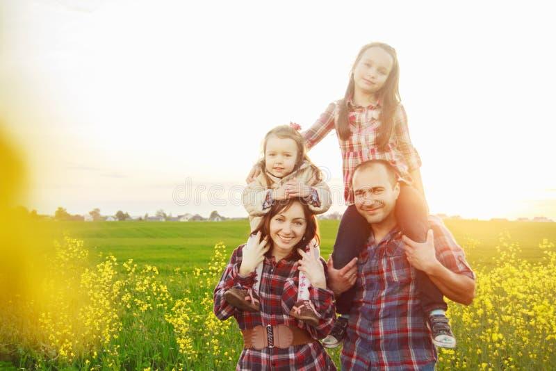 Família no campo fotografia de stock royalty free