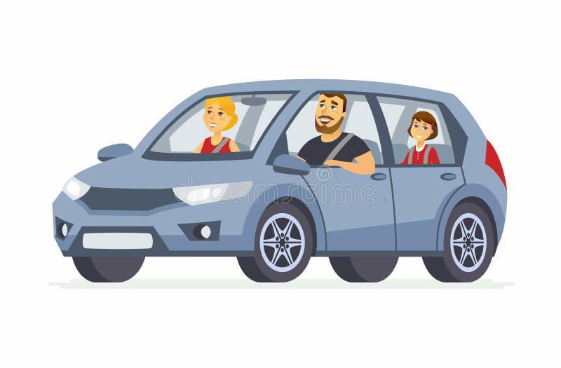 A família no caráter automobilístico dos povos dos desenhos animados isolou a ilustração ilustração stock
