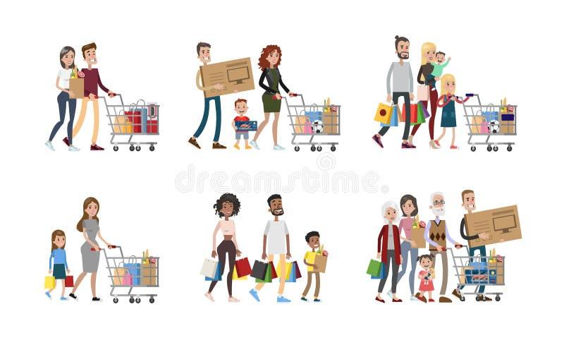 Família no grupo da compra ilustração stock
