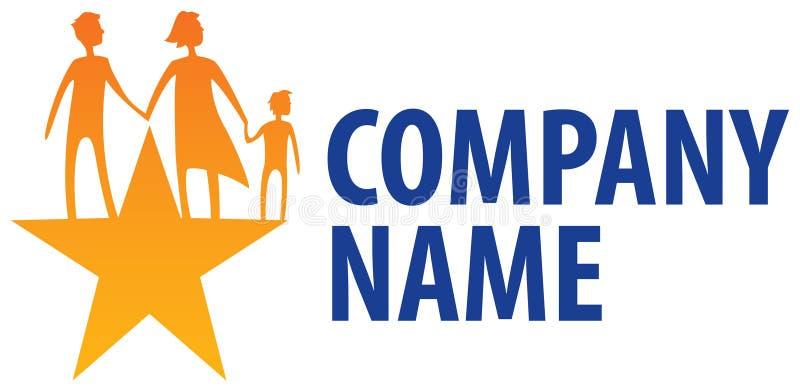 Família no logotipo da estrela ilustração royalty free