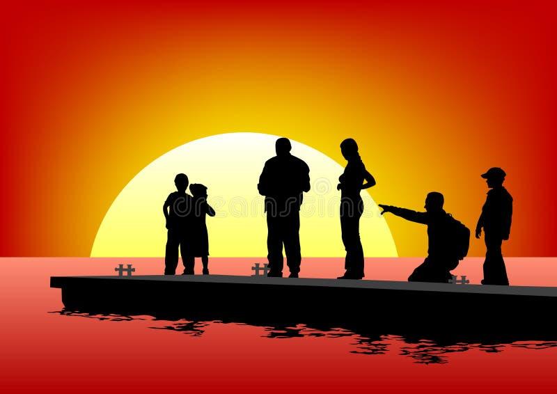 Família no mar ilustração do vetor