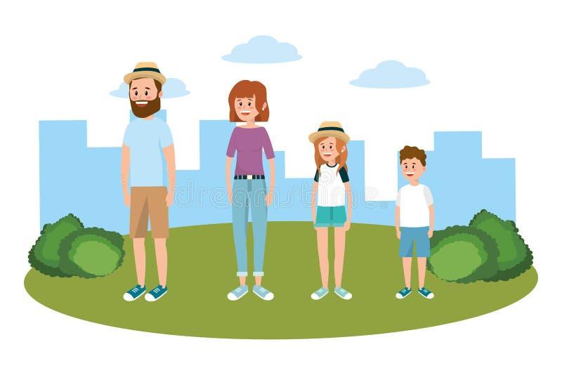 Família no parque ilustração stock