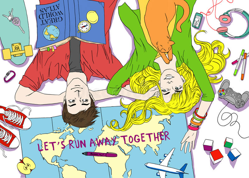 A família nova dos pares planeia o curso feliz dos desejos dos sonhos Entregue o esboço tirado para a página antistress adulta da ilustração royalty free