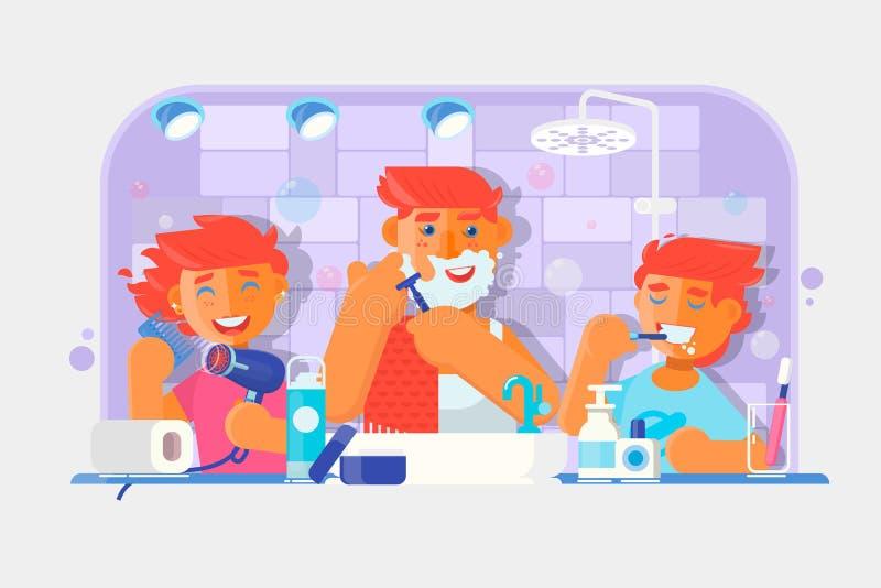 Família nova Menino que escova seus dentes, homem que barbeia sua cara, menina que penteia seu cabelo no banheiro Vetor ilustração stock