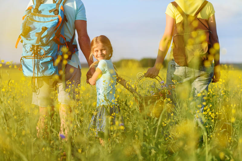 Família nova que caminha na montanha fotografia de stock royalty free