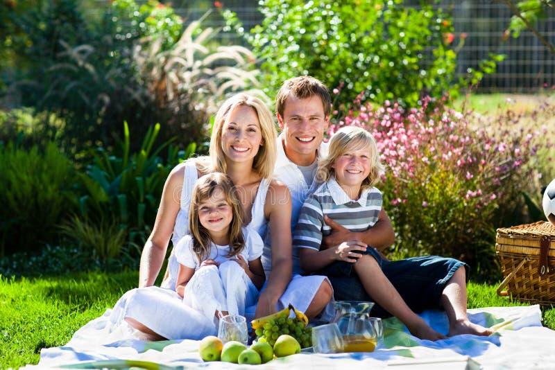 Família nova que tem o piquenique em um parque fotos de stock
