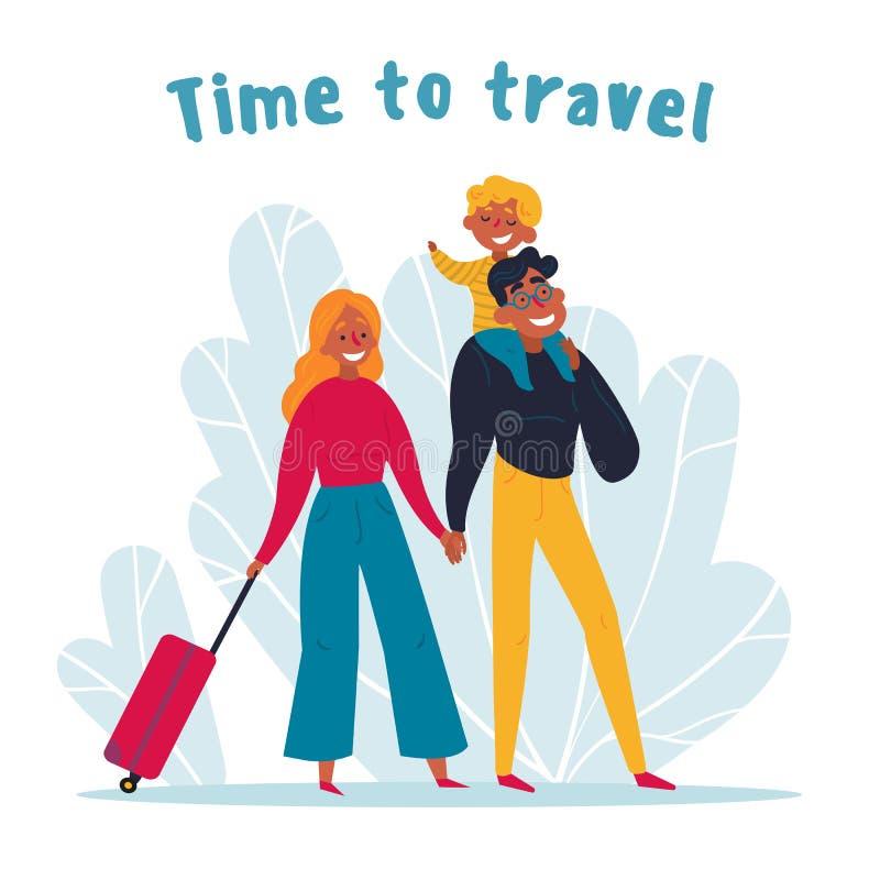 Fam?lia nova que viaja junto Hora de viajar ilustração do vetor