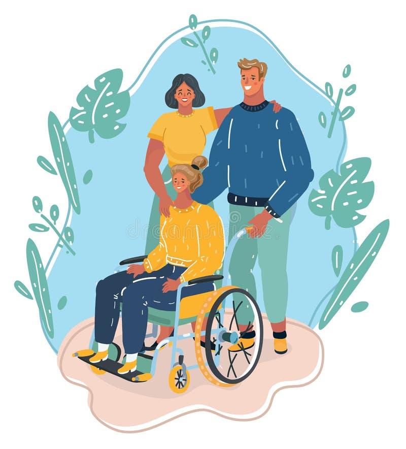 Família ou grupo de amigos com a menina da inutilização na cadeira de rodas ilustração stock