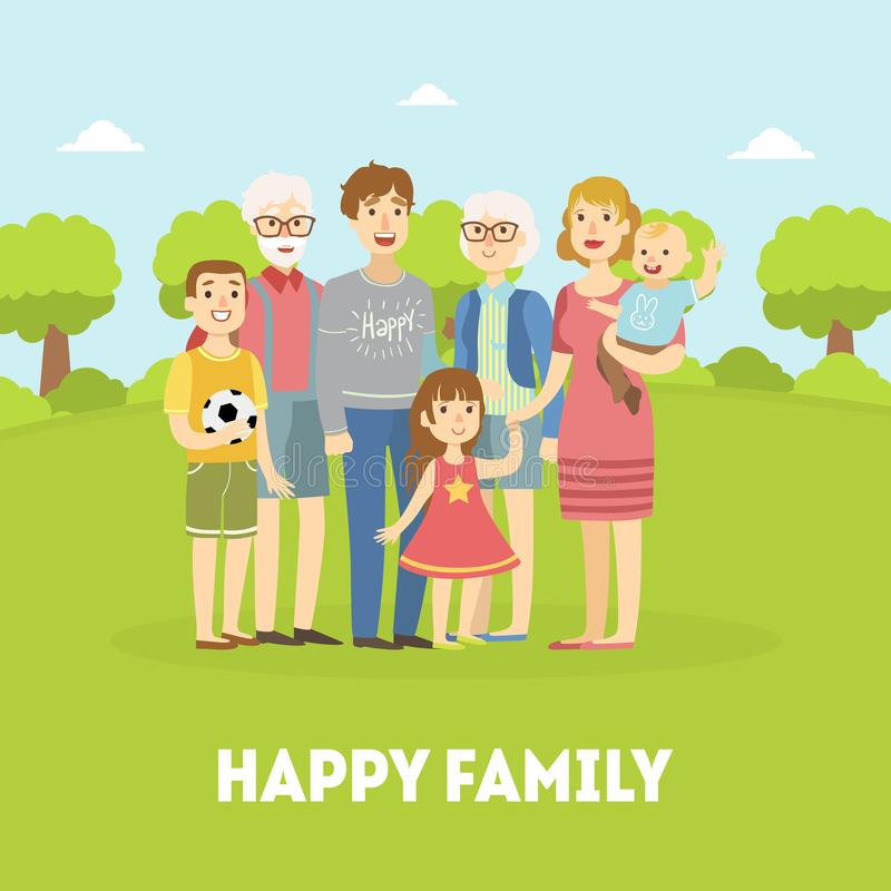 Família, pai, mãe, avô, avó feliz e crianças levantando junto no vetor do fundo da natureza ilustração royalty free