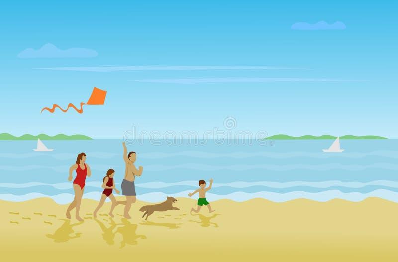 A família, pais, meninas, meninos está correndo na praia em um feriado feliz ilustração royalty free