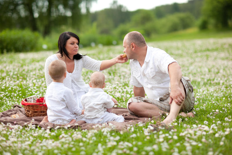 Família picknic foto de stock