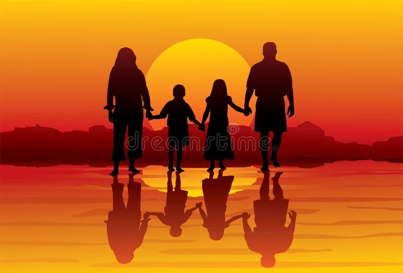 Família-praia ilustração royalty free