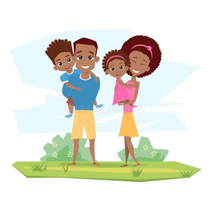 Família preta feliz que sorri na natureza Crianças da posse dos pais ilustração do vetor