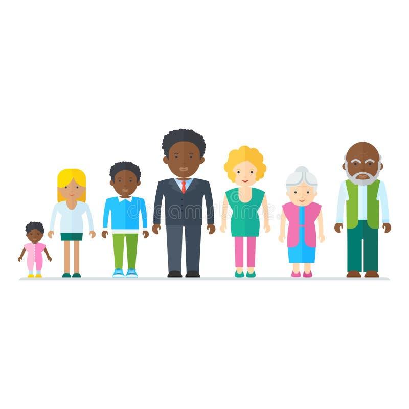 Família preta misturada ilustração royalty free