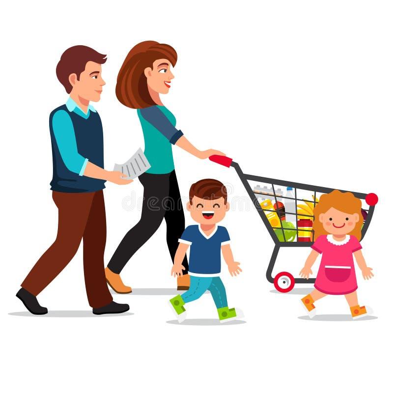 Família que anda com carrinho de compras ilustração royalty free