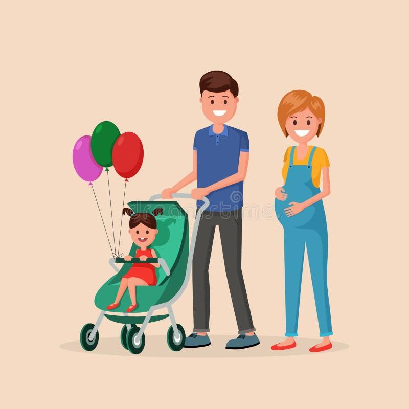 Família que anda com filha ilustração stock