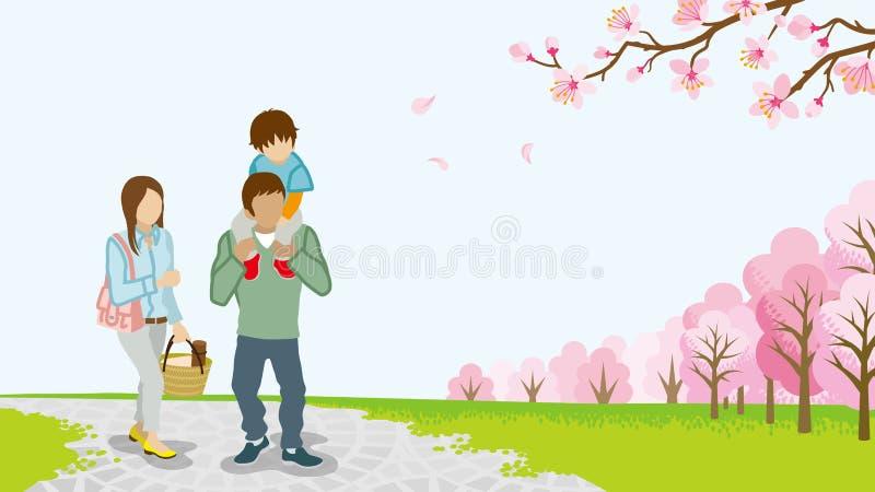 Download Família Que Anda Entre árvores De Cereja Da Flor Completa - Reboque - EPS10 Ilustração do Vetor - Ilustração de ilustração, anonymity: 65579942