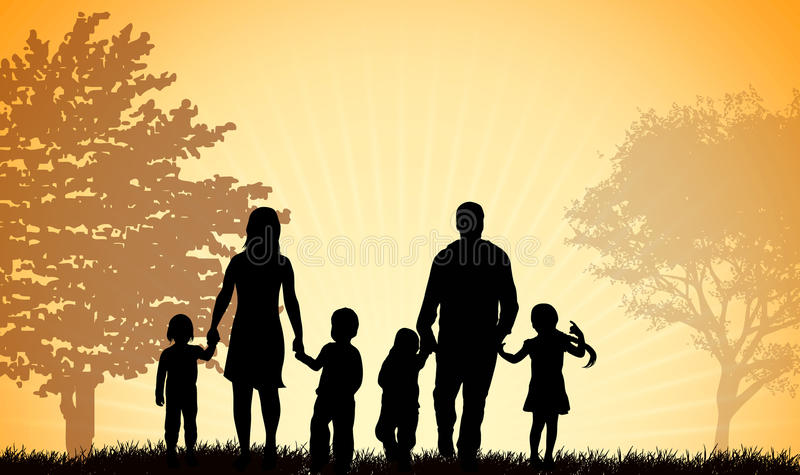 Família que anda junto ilustração do vetor
