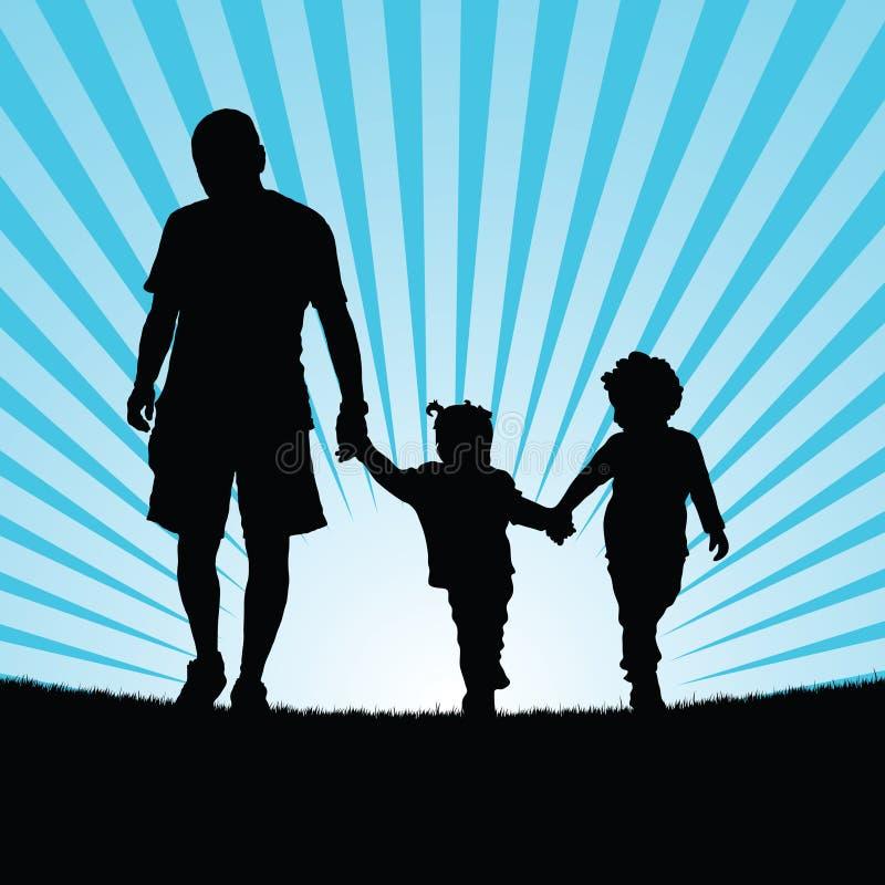 Família que anda na ilustração de cor da silhueta da natureza ilustração do vetor